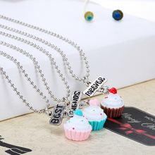 New Arrive Best Friends BFF Resin Love Heart Cake Pendant Bead Chain Necklace,3Pcs/set Lead Nickel Cadmium Free Girl Jewelry