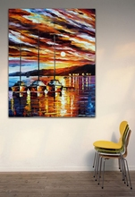 100% Hand-painted Canvas Oil Paintings Resting Boat on Dust Harbor Seascape Wall Art Picture for Office(Hong Kong)