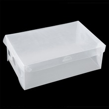 1 PCS Stackable Storage Box Thick Boot Shoe Organizer Transparent Plastic Foldable(China)
