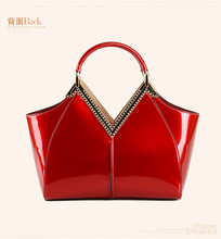 New brand leather handbags 2017 spring and summer new handbag fashion with a large red patent leather bag bridal bag wedding bag