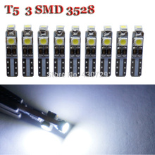 100pcs/lot Car Auto LED T5 3 led smd 3528 Wedge LED Light Bulb Lamp 3SMD Light White Interior Lights Instrument Lights(China)
