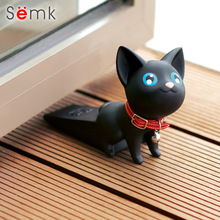 Semk PVC Vinyl Cat Cute Cat Door Stopper Cartoon Lovely Safety Strong Grip Christmas Gifts Animal door stopper two colors(China)