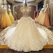 Buy LS6642 Korean Wedding Dress Long Train Robe Mariage Transparent Back luxury Beaded Ball Gown Brial Dress 2017 for $665.98 in AliExpress store