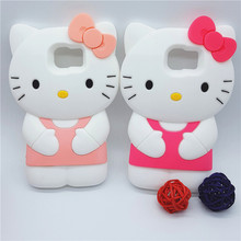 New Cute 3D Cartoon Bowknot Hello Kitty Case Soft Silicon Back Cover for  Samsung Galaxy S6 G9200 & S7 G9300 Rubber Phone Shell