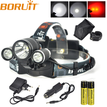 Boruit 8000LM XML T6 2R5 Red LED 3Mode Bike Headlamp Outdoor Headlight Head Lamp Torch Lantern For Hunting  AC Charger 18650