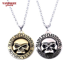 Harley Motorcycle Necklace&Pendant Skull Symbol Logo Metal Enamel Necklace High Quality Silver Simple Bohemian Necklaces for Man