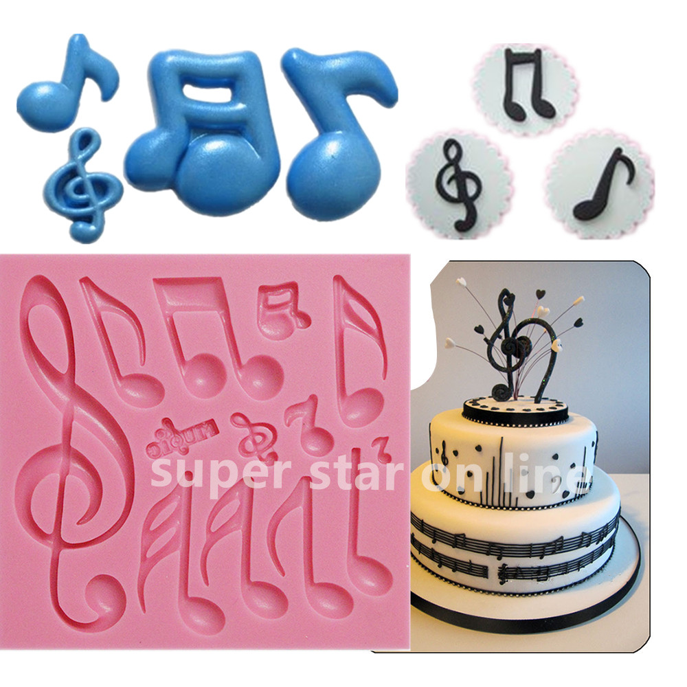 Image Music Note Collection Silicone Mold Fondant Cake Stand Candy Chocolate Soap Moulds Cupcake Molds Cooking Tools Christmas Wilton