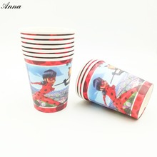 10pcs/lot Ladybug Party Supplies Paper Cup Cartoon Birthday Decoration Baby Shower Theme Boys Ladybug party(China)