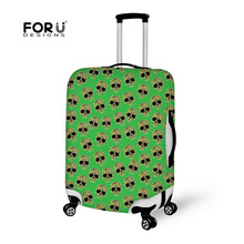 FORUDESIGNS Fashion Skull Head Green Clear Luggage Cover Washable Spandex Travel Trunk Case Dust Covers Zipper Closure Protector
