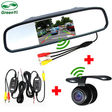 "Car Wireless Parking Assistance Camera Monitor System, Rear View Camera + 4.3"" Rearview Mirror Monitor + 2.4 Ghz Wireless Kit"