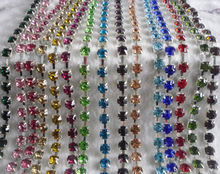 SS40 Fashion costume applique 8mm crystal glass rhinestones silver metal cup claw trims clothing wedding decoration chain 20cm(China)