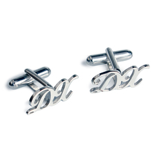 DIY Cuff links  Men Trendy 925 Sterling Silver Double Seamless Transitional Initials Custom Made Men Cuff Buttons Wedding Gift