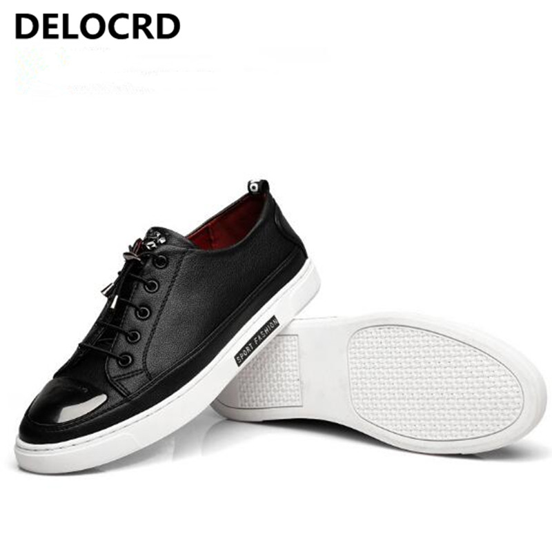2018 Spring New Leather Mens Shoes Fashion Casual Shoes Mens Leather Flat Shoes Mens Shoes Europe and The United States Style<br>