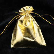 Gold Silver Plated Satin Gift Bags With Drawstring 11x16cm 500PCs Jewelry Bags For Wedding Engagement Party Bags Gift For Candy