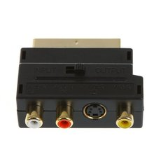 RGB Scart to Composite RCA+S-Video AV TV Audio Adapter