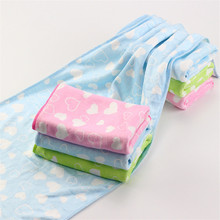 33*72cm 1 piece towel heart printed quick dry multi function hair face hand towel dyeing Shower Sports towels Home Textiles(China)