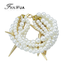 FANHUA Bohemia Style Beads Chains Spike Simulated Pearl Bracelets and Bangles New Summer Designer Jewelry For Women