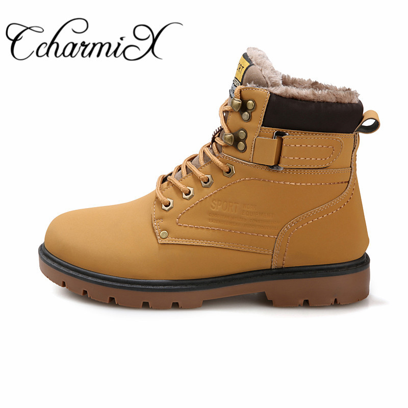 Online Ccharmix Big Size 45 46 Mens Work Safety Boots Winter Warm Fur Men Ankle Military Male Leather Combat Snow Aliexpress Mobile