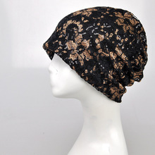 Wholesale 10pcs Beautiful Women Black Lace Flower Slouchy Beanie Cap Lady White Baggy Skullies Hats Summer Skull Beanie Caps