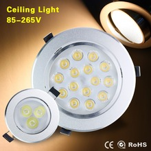 AC85-265V LED Ceiling Downlight Recessed LED Lamp 9W 15W 21W Spot Lighting With LED Driver For Livingroom Solar Lighting