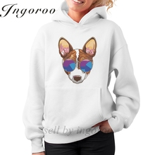 Babaseal Hipster Serious Dog Basenji In Glasses Top Brand Tumblr Sweatshirt Harajuku Kawaii Plain Hoodies Pink Women Hoodie(China)