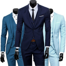 blazers + pants + vest set / 2017 Men's fashion three piece suit sets / male business casual coat jacket waistcoat trousers(China)
