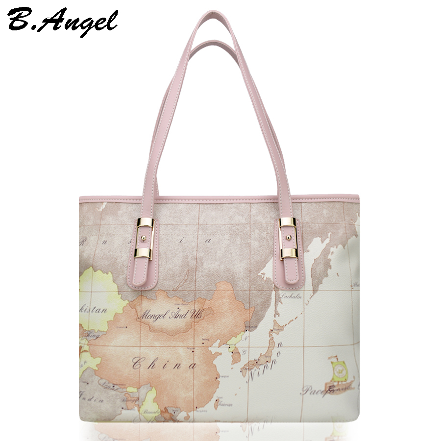 High quality world map women bag fashion big tote bag special handbag brand designer shoulder bag HC-W-29123<br>