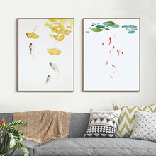 Good Symbolic Traditional Chinese Lotus leaf The carp Ornament fish Pond Canvas Painting Art Hanging Picture For Home Decor