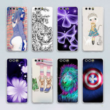 tiger cat sex girl flower butterfly design transparent clear hard case cover for Huawei P10 P9 Plus P8 P9 lite Mate S 9 8