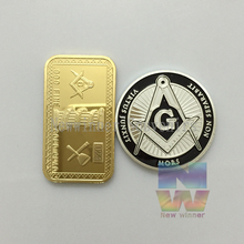 Mix order 5+5 Freemasons masonic all-seeing eye silver coin Europe Free-masons coins gold bullion bar