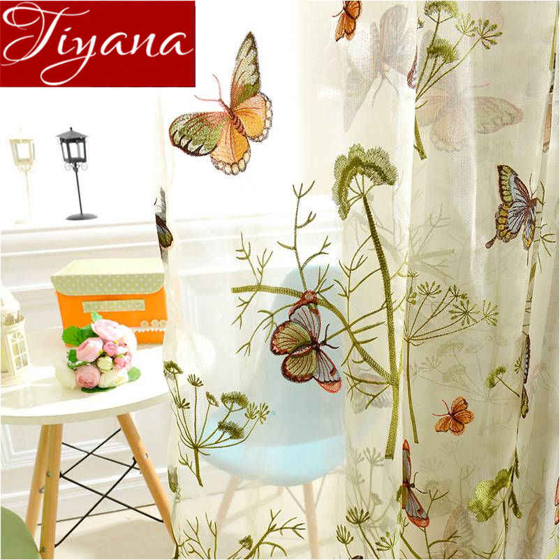 Butterfly Curtain Embroidered Voile for Living Room Tulle Curtain for Kid Room Sheer Fabric Rustic Cortinas Treatment T&229 #30
