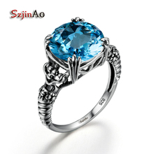 Szjinao New Wholesale 100% 925 Sterling Silver Bulgaria Skull Punk Ring Antique Jewelry High Quality Blue Stone bague art deco