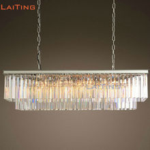 American Rustic Rectangle Crystal Chandelier Vintage Round Black Crystal Pendant Lamp for Dining Room LT71083(China)