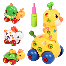 Kids Animal Puzzle Educational Toy Children Disassembly Assembly Cartoon Giraffe Snail Tortoise Rabbit Puzzle Toy Random Pattern