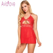 Buy Avidlove Babydoll Lingerie Sexy Hot Erotic Sex Underwear Women Lace Mesh Lingerie Bow Chemise Nightgown Female Negligee Costume