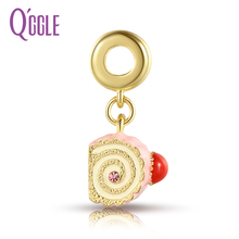 QGGLE Silver & Gold C Yellow Pink Sponge Cake Pendant & Charm Fit Bangles & Bracelets For Women DIY Jewelry