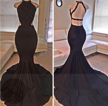 Babyonline Sexy Black Mermaid Prom Dresses 2017 Open Back Lace Evening Dresses High Slit Formal Evening Party Dresses