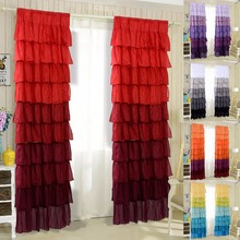 "1 Pair Ruffle Sheer Curtain 54""X84"" Panels Drapes Valances Top Rod Pocket New(China)"