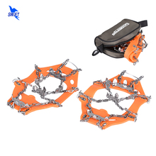 1 Pair 13 Teeth Claws Crampons Non-slip Shoes Cover Stainless Steel Chain Outdoor Ski Ice Gripper Snow Hiking Climbing Crampons(China)