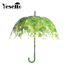 Yesello Transparent Thicken PVC Mushroom Green Leaves Rain Clear Leaf Bubble Umbrella