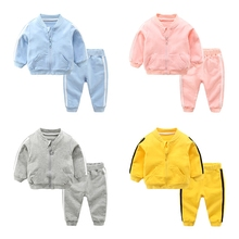 2017 New Fall Baby Boys Girls Sport Set Cotton Ziper Jacket Pant Casual Set Unisex Infant Children Clothes 3m 6m 9m 1y 2t 3t(China)