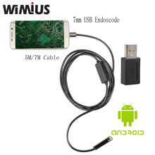 Wimius 7mm Android Endoscope USB Cable Focus Camera 5M/7M Waterproof Full LED HD Inspection Mini Camera Borescope for Phone PC