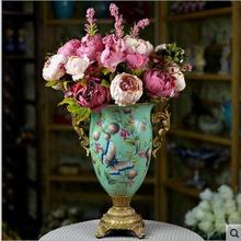 Artificial Peony Bunch 47cm/18.5 inch Silk Flowers Vintage Peony Flower with Hydrangea Flower for Wedding Centerpieces Decor(China)