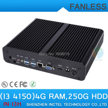 Fanless Mini-PC Computer i3 4150 with Intel Core i3 4150 3.5Ghz HDMI VGA DP Three display 4G RAM 250G HDD micro pc smallest pc