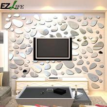 EZLIFE Beautiful Cobblestone 3D Mirror Luxury Wall Sticker Bathroom Living Room Background Stickers VQ0083