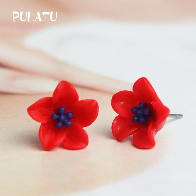 10 Color Flower Stud Earring For Women Resin Minimalist Small Earrings Fashion Jewelry PULATU HD118(China (Mainland))