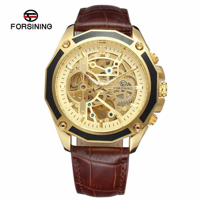 Forsining Transparent Luxury Gear Steampunk Brown Genuine Leather Belt Golden Movement Inside Self Winding Automatic Wrist Watch<br>