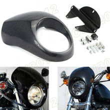 "Upmarket Carbon Fiber For Harley Sportster Models 5-3/4"" Motorcycle Headlight Front Fairing Mask Cowl #3758"
