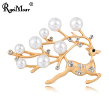 RAVIMOUR Christmas Sika deer Brooches Women Simulated Pearl Jewelry 2017 Gold Silver Color Lady Broches Pins Party Accessories(China)