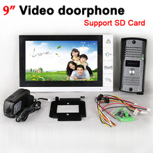 Luxury 9 Inch Color LCD Monitor Video Recording Door Phone Doorbell Intercom System IR Camera Support SD Card Record Function